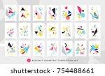 colorful pop art geometric... | Shutterstock .eps vector #754488661