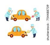 funny doctor examining sick car ... | Shutterstock .eps vector #754488739