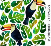 watercolor tropical toucans and ... | Shutterstock . vector #754491301