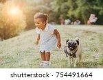 emotion laughing full body... | Shutterstock . vector #754491664