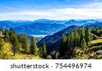 kampenwand mountain at the... | Shutterstock . vector #754496974