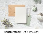 minimalistic christmas card... | Shutterstock . vector #754498324
