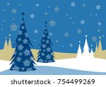 christmas card with trees in... | Shutterstock . vector #754499269