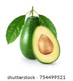 avocado with leaf isolated on...   Shutterstock . vector #754499521