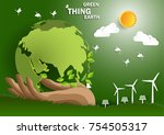 illustration of eco and world... | Shutterstock .eps vector #754505317