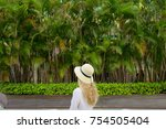 girl in a hat on a background... | Shutterstock . vector #754505404