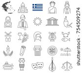 greece line icon set.vector | Shutterstock .eps vector #754509274