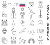 russia line icon set.vector | Shutterstock .eps vector #754509301
