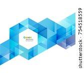 vector blue geometric layout... | Shutterstock .eps vector #754518559