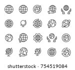 Stock vector simple set of globe related outline icons elements for mobile concept and web apps thin line 754519084