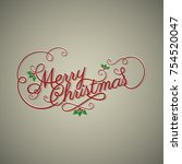christmas banner with hand... | Shutterstock .eps vector #754520047