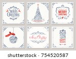 ornate square winter holidays... | Shutterstock .eps vector #754520587