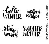 winter lettering set | Shutterstock .eps vector #754520884