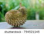 Small photo of Ripe durian on table under tree shadow in the garden background.Durian is the fruit of several tree species belonging to the genus Durio. Durian taste is combination of sweet and creamy all at once
