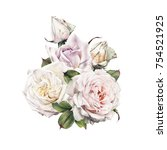 bouquet of roses  watercolor ... | Shutterstock . vector #754521925