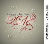 happy new year 2018 greeting... | Shutterstock .eps vector #754524301