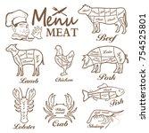 meat menu. set of butcher shop... | Shutterstock .eps vector #754525801