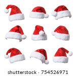 set of santa's red hat isolated ... | Shutterstock . vector #754526971
