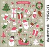 christmas retro elements set.... | Shutterstock .eps vector #754528051