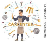 carpentry round concept with... | Shutterstock .eps vector #754530214