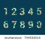 set of numbers 0 9 with percent ... | Shutterstock .eps vector #754533514