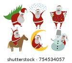 santa claus  present  vector... | Shutterstock .eps vector #754534057