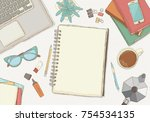 illustrated workplace... | Shutterstock .eps vector #754534135