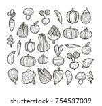 vector set of begetables  ...   Shutterstock .eps vector #754537039