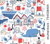 vector doodle illustration.... | Shutterstock .eps vector #754538404