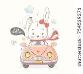 cute rabbit driving car cartoon ... | Shutterstock .eps vector #754539271