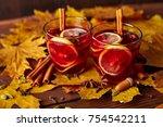 autumn warming drink. hot...   Shutterstock . vector #754542211