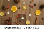 wooden table with christmas... | Shutterstock . vector #754544119