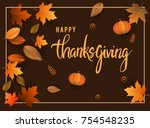 happy thanksgiving typography... | Shutterstock .eps vector #754548235