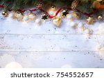 christmas holidays composition... | Shutterstock . vector #754552657