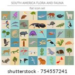 south america flora and fauna... | Shutterstock .eps vector #754557241