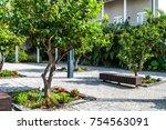 a small beautiful green park. | Shutterstock . vector #754563091