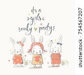cute little rabbits  cartoon... | Shutterstock .eps vector #754567207
