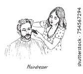 hairdresser at work  shaving or ... | Shutterstock .eps vector #754567294