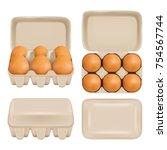 vector egg carton set. white... | Shutterstock .eps vector #754567744