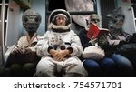 on a spaceship  an astronaut ... | Shutterstock . vector #754571701