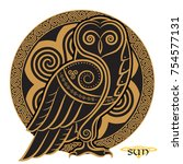 owl hand drawn in celtic style  ... | Shutterstock .eps vector #754577131