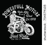 hand paint motorcycle rider... | Shutterstock .eps vector #754579105