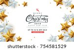 merry christmas sale background ... | Shutterstock .eps vector #754581529