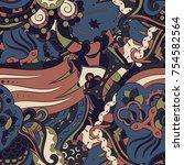 seamless mehndi vector pattern. ... | Shutterstock .eps vector #754582564