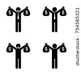 man holding usd money bags set | Shutterstock .eps vector #754585321