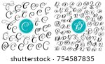 set of hand drawn vector... | Shutterstock .eps vector #754587835