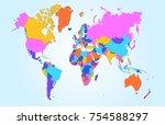 color world map vector | Shutterstock .eps vector #754588297