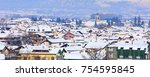houses with snow roofs and... | Shutterstock . vector #754595845
