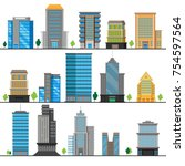 a set of different building... | Shutterstock .eps vector #754597564