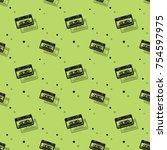 audio stereo cassette seamless...   Shutterstock .eps vector #754597975